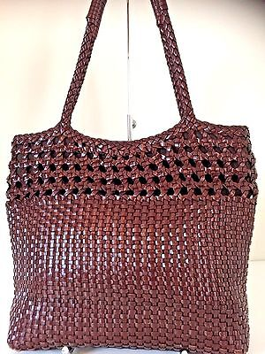 Ann Taylor Mohogany Brown Woven Leather Shoulder Satchel Purse Bag