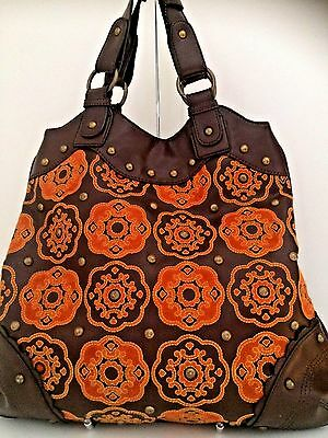 NY & Company Brown Faux Leather Embroidered Medallions Satchel Tote Purse Bag