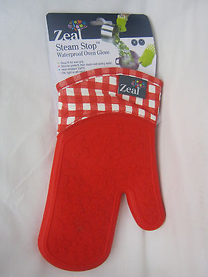 New Zeal Traditional Single Oven Mitt Glove Silicone Waterproof Red V104