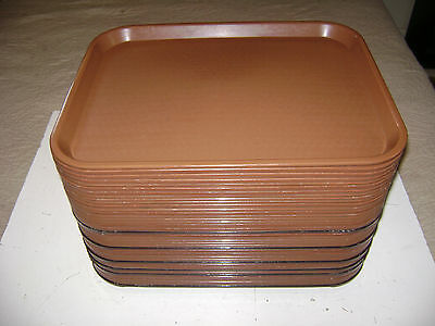 """Used Lot 40 Food Service Trays Plastic Serving School Lunch 17 3/4"""" X 14"""" Brown"""