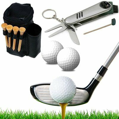 Golf Multitool (Pitchgabel Ballmarker Messer..) mit Tasche, 2 Golfbälle & 4 Tees