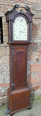 ANTIQUE Grandfather LONGCASE CLOCK Oak Case CORRIE Of LANGHOLM W/ Painted DIAL