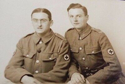 Rare WW1 Rp Postcard of 2 red cross soldiers private Dunton and winters
