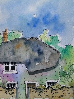 Original Watercolour Painting  - Thatch By The Woods 17cm x 12cm