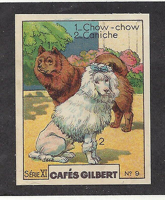 Rare 1930 France Cafes Gilbert Dog Art Trade Card CHOW CHOW & STANDARD POODLE