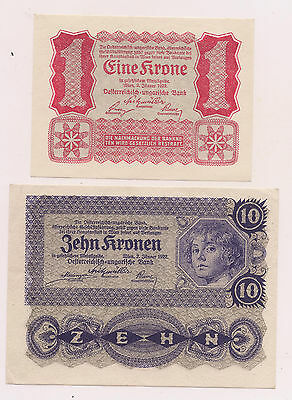 1922 Austria  Banknotes (P73 &P75)---UNC Condition !!