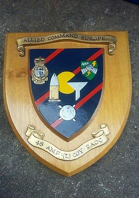 A Vintage Allied Command Europe 48 Amf (L) Cov Raoc Wooden Shield Plaque