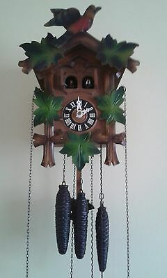 Cuckoo Clock Vintage German 3 Weight Wood Carved 30 Hour Mechanical & Music.