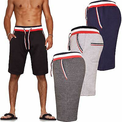 Mens Sweat Shorts Jogger Fleece Jersey Jogging Ribbed Patch Sports Running Gym