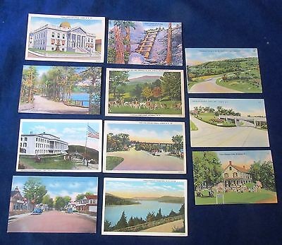 Lot of 11 Vintage Linen Postcards, Catskill Mountains New York, Circa 1940's