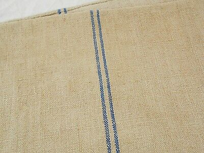 21x53 Vtg Antique BLUE STRIPE European HEMP LINEN Fabric FEED SACK GRAIN BAG