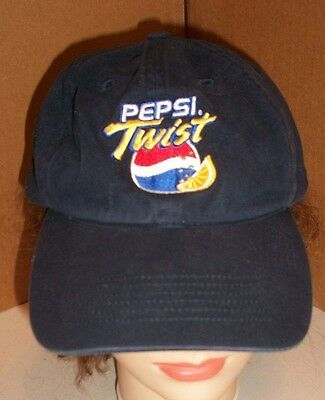 PEPSI TWIST Vintage Trucker Hat Embroidered Logo Blue Baseball Cap RETIRED USA