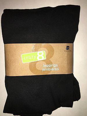 CRAZY 8 BY GYMBOREE NWT GIRLS SOLID BLACK LEGGINGS LARGE 10 12 L new
