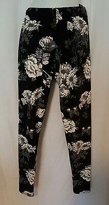 Nwt Women's Leggings Plus Size 8/20 Buttery Soft Black Floral Butterfly Print ⚘
