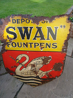 Rare vintage 1909 Swan Fountpens enamel shop Sign nice condition for age clean