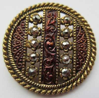 Exceptional LARGE Antique~ Vtg Tinted Pierced Metal BUTTON w/ Cut Steel Accents