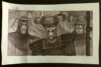 """""""Hunchback of Notre Dame"""" Disney Claude Frollo Watercolor Storyboard Drawing"""