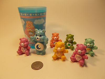 Care Bear Lot Of 7 Bears Cake Toppers & Plastic Cup