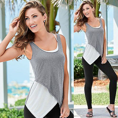Women Lace Neck Vest Sleeveless Shirt Blouse Summer Casual Loose Tee Tops Size L