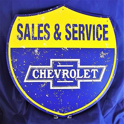 "Chevrolet Sales Service Chevy Metal Tin Large Sign 24"" inch Shop Garage Dealer"