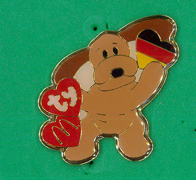 McDonalds restaurant pin - brown dog Germany - Ty beanie collector badge