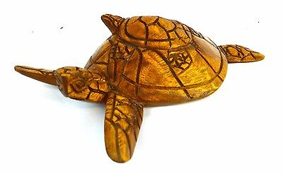 Large Hand Carved Mahogany Wood Sea Turtle Sculpture Mom Baby Center Piece Wall