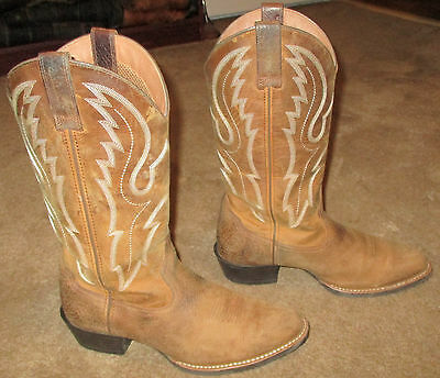 Mens Ariat Sport R Toe Brown Leather Western Cowboy Boots sz 9.5 EE