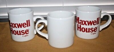 Set of 3 MAXWELL HOUSE COFFEE White Cups w Red Lettering, Made in England