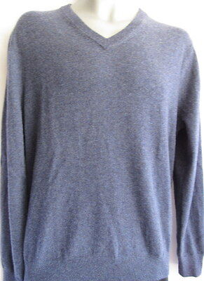 Men Bloomingdale's V-Neck Cashmere Sweater Size XL Navy Twist