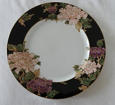 Fitz & Floyd BLACK CLOISONNE PEONY Lot of 4 Dinner Plates
