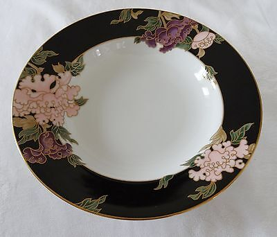 Fitz & Floyd BLACK CLOISONNE PEONY Lot of  2 Flat Rimmed Soup Bowl Plate
