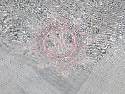 "VTG MADEIRA Embroidered Pink Gray Monogram ""M"" Handkerchief Hanky~Bridal"