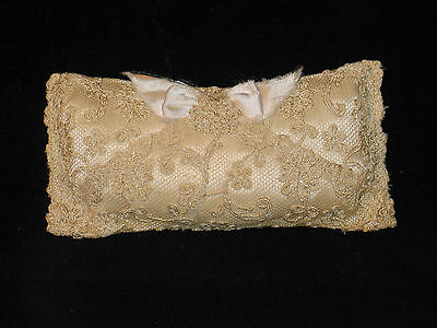 Antique Embroidered French Silk Lace Pin Cushion Hat Pin Holder-Wedding-Pillow