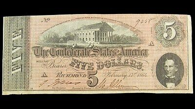 1864 Confederate States $5 Dollar Note T-69 CSA Civil War Currency