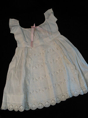 Antique Girls Dress~Petticoat~Broiderie Anglais Baptismal Christening Embroidery