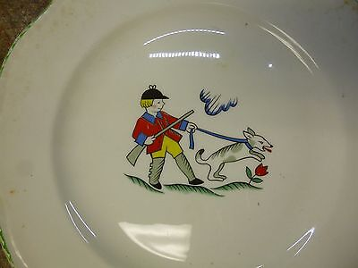 """Antique china plate of Iron John (German fairy tale), """"Johnny"""" hunter, and dog"""