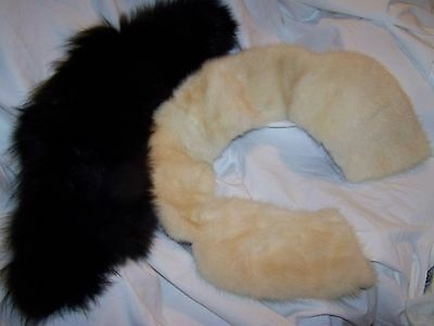 Vintage Lot of 2 collars Black Fox and White Mink