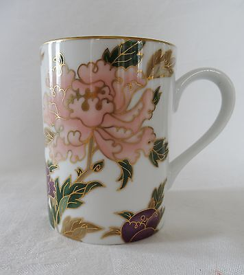 Fitz & Floyd WHITE CLOISONNE PEONY Lot of 4 Coffee Mugs