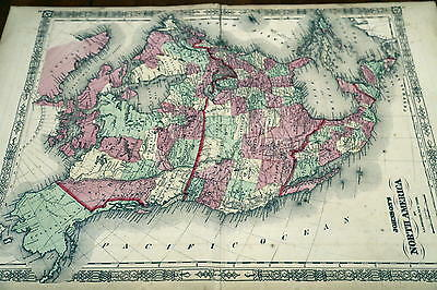 1863 Johnson Antique Atlas Map-North America-Handcolored-Beautiful Border