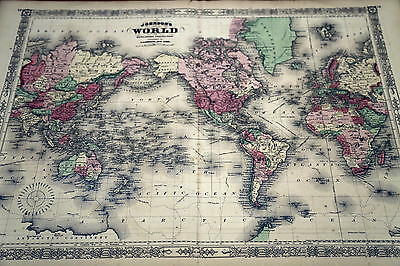 1863 Johnson Antique Atlas Map-The World-Handcolored-Beautiful Border