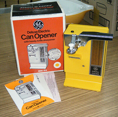 Vintage Retro Yellow Near Mint Boxed GE Deluxe Electric Can Opener