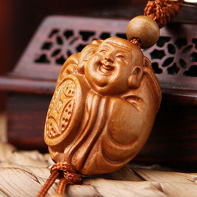 Wood 3D Carved Chinese Happy Buddha Statue Sculpture Pendant Key Chain