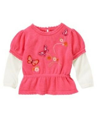 NWT Gymboree Size 3T BUTTERFLY GIRL Embroidered Butterfly Double Sleeve Sweater