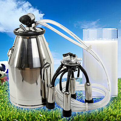 25L Stainless Steel Portable Cow Milker Bucket Tank Milking Machine without pump