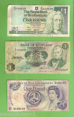 Two  Scotland 1   Pound   Circulated   Banknotes & Isle Of Man Pound
