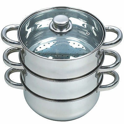 27Cm 4Pc Steamer Cooker Pot Set Pan Cook Food Glass Lids 3 Tier Stainless Steel