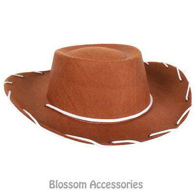 A829 Kids Child Brown Cowboy Hat Toy Story Woody Western Costume Party Accessory