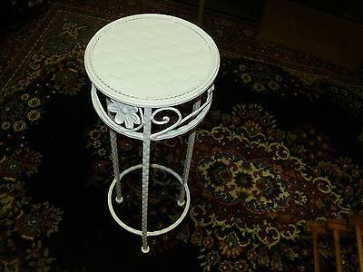 Vintage White Floral Design Metal Plant Stand/quilted Top