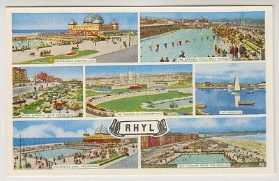 Wales postcard - Rhyl (Multiview showing 7 views)