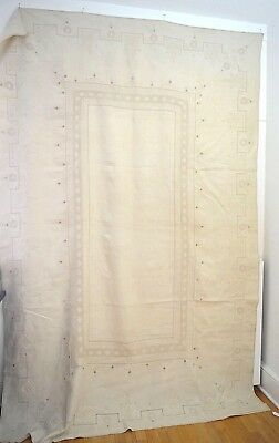 Beautiful Vintage Arts And Crafts Linen Tablecloth Banquet Cloth Ss751
